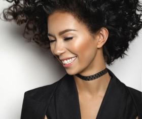 Fashion make-up curly hair woman Stock Photo 02