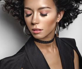 Fashion make-up curly hair woman Stock Photo 03