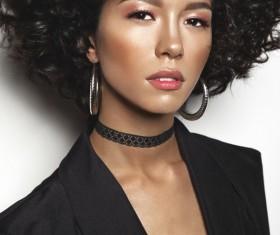 Fashion make-up curly hair woman Stock Photo 04