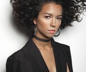 Fashion make-up curly hair woman Stock Photo 05