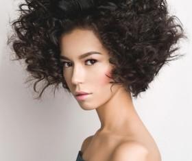 Fashion make-up curly hair woman Stock Photo 06
