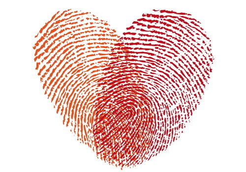 fingerprint with hearts vector