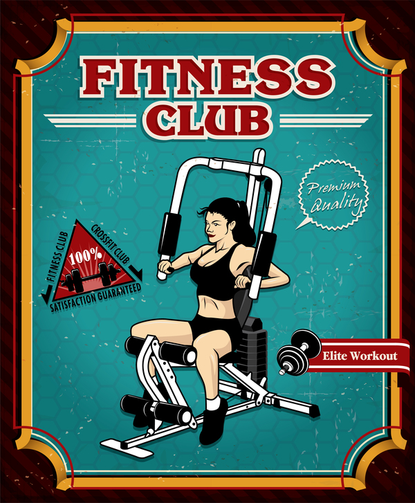 Fitness club poster template vector