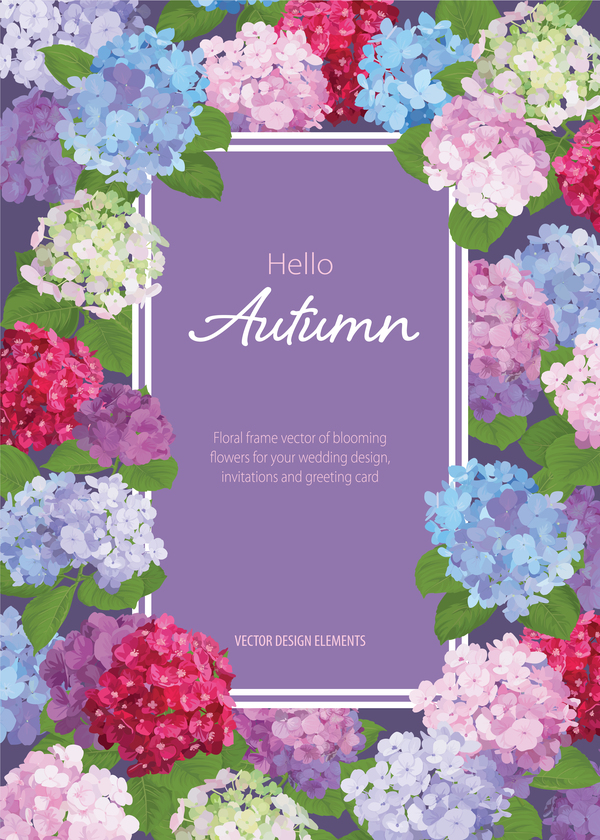Floral autumn flower card vector 03