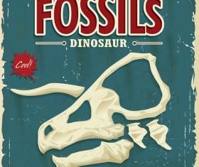Fossils dinosaur poster vector
