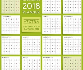 Fresh green 2018 calendar template vector