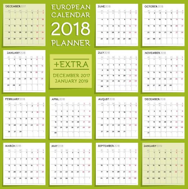Fresh green 2018 calendar template vector