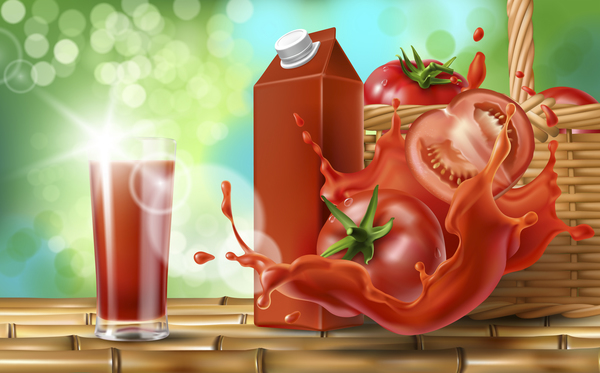Fresh tomato drink design elements vector