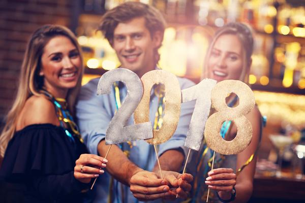 Friends celebrating New Year Stock Photo 01