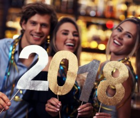 Friends celebrating New Year Stock Photo 05