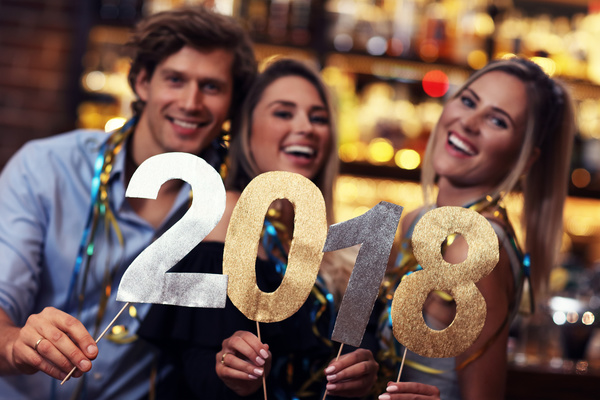 Friends celebrating New Year Stock Photo 05