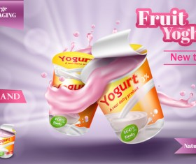 Fruit yoghurt poster template vector