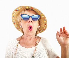 Funny expression elderly Stock Photo