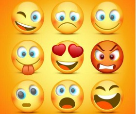 Funny round yellow expression icons