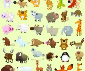 Funny wild animals cartoon illustration vector 01