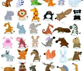 Funny wild animals cartoon illustration vector 02