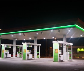 Gas stations at night Stock Photo