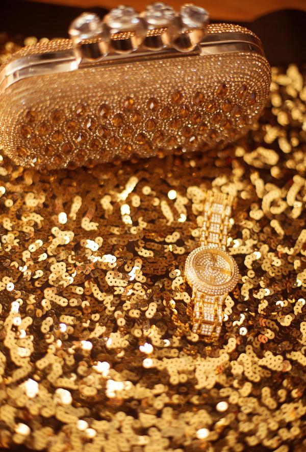 Gemstone Golden ladies handbag and watch Stock Photo 01