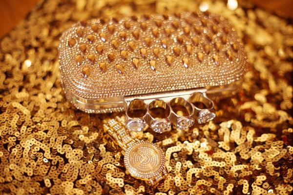 Gemstone Golden ladies handbag and watch Stock Photo 02