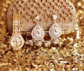 Gemstone Golden ladies handbag and watch with gemstone earrings Stock Photo 02