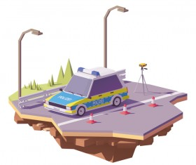 German police car controlling speed with radar speed gun on the road vector