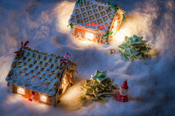Gingerbread house on the snow outdoors Stock Photo 01