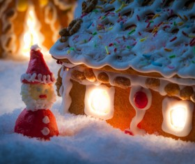 Gingerbread house on the snow outdoors Stock Photo 02