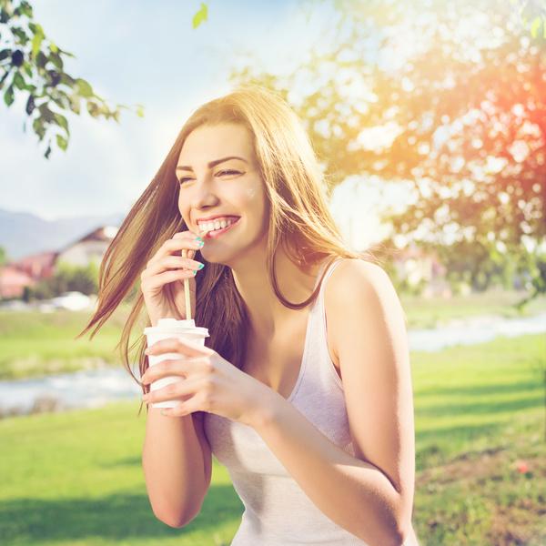 Girl fun drinking coffee Stock Photo