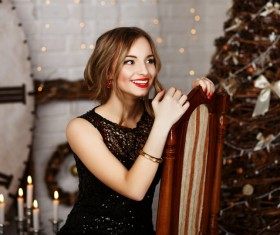 Girl having fun on New Year Christmas day Stock Photo