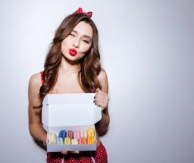 Girl holding macaron cookies Stock Photo 01
