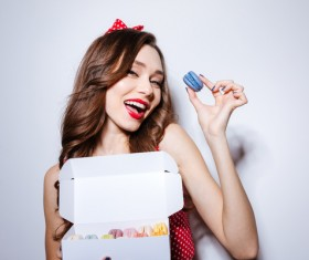 Girl holding macaron cookies Stock Photo 02