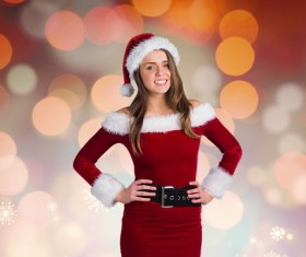 Girl wearing Christmas costume and virtual background Stock Photo