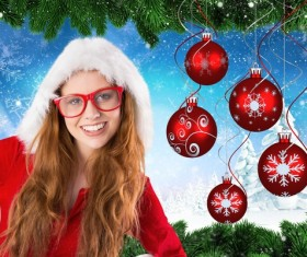 Girl wearing Christmas costume with Christmas decoration background Stock Photo