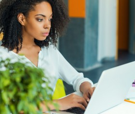 Girl working with laptop at work Stock Photo 01
