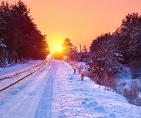 Glaring sunshine and beautiful winter snow scene Stock Photo 04