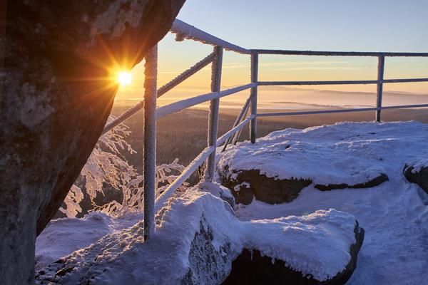 Glaring sunshine and beautiful winter snow scene Stock Photo 08