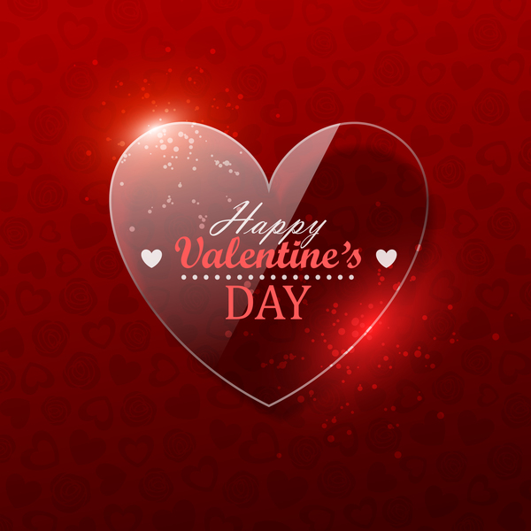 Glass heart with valentine background vector 01