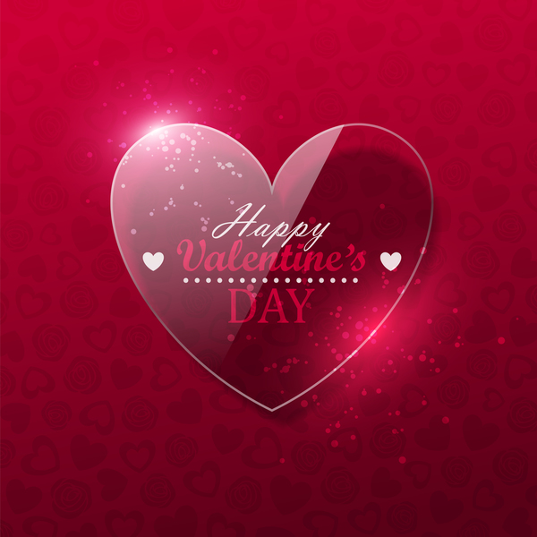 Glass heart with valentine background vector 02