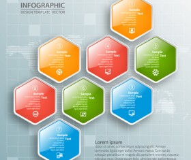 Glass textured hexagon infographic template vector 02