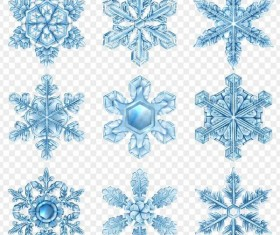 Glass textured snowflake illustration vectors set