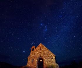Glittering stars and ancient masonry Stock Photo