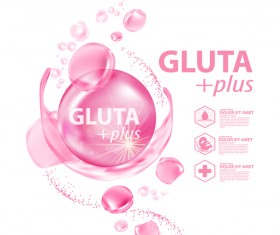 Gluta plus advertising poster template vector 08