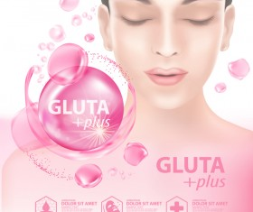 Gluta plus advertising poster template vector 09