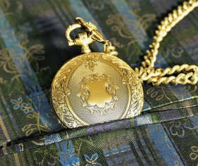 Gold high-end pocket watch Stock Photo