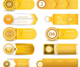 Gold yellow business website banners vector