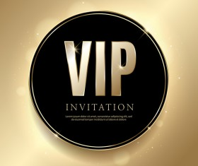 Golden VIP invitation card template vector 01