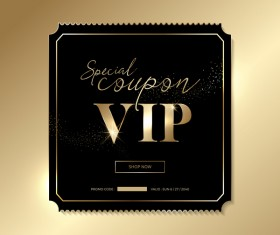 Golden VIP invitation card template vector 02