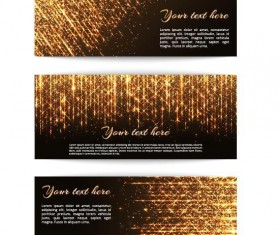 Golden beam banners vector material