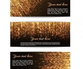 Golden beam banners vector material