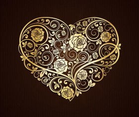 Golden heart with floral decor vector material